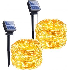 Outdoor Solar String Lights, 2 Pack 33Feet 100 Led Solar Powered Fairy Lights with 8 Lighting Modes Waterproof Decoration Copper Wire Lights for Patio Yard Trees Christmas Wedding Party