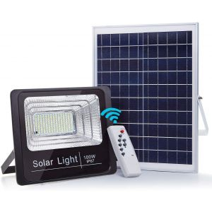 Solar Flood Light Outdoor Solar Light with Remote Control IP67 Waterproof Security Lighting